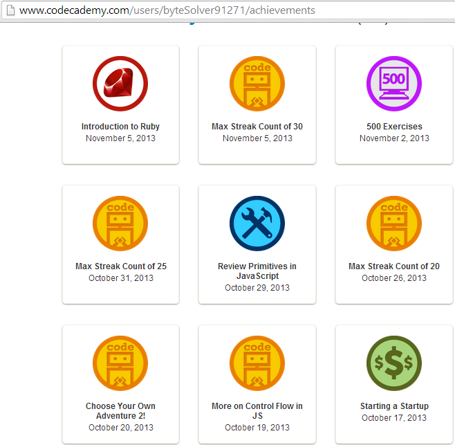 Some of the badges on Codecademy. Note that streaks of points are rewarded like other 'achievements'